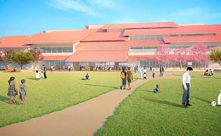 エントランス反対側の防災公園から見た新庁舎の外観イメージ(石垣市新庁舎建設室提供)