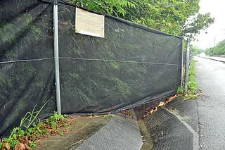 イリオモテヤマネコの交通事故防止策の実証実験に向け、県が設置した路上進入抑制柵とチェーン式の「ヤマネコストッパー」=15日午後、西表島高那地区