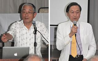 「真の平和は武力からはつくられない」と訴える鳩山氏(右)と、中国の軍事武力に言及する高野氏=27日夜、大川公民館