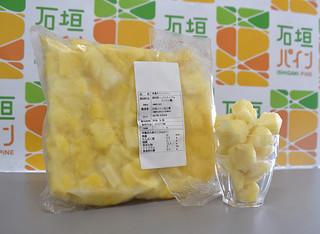 学校給食で初めて提供される石垣パイン加工場の「冷凍カットパイン」(左は1㌔規格)=6月30日午後、石垣パイン加工場