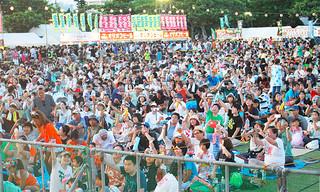 「カリー」の掛け声で乾杯をする来場者ら=8日午後、石垣市新栄公園