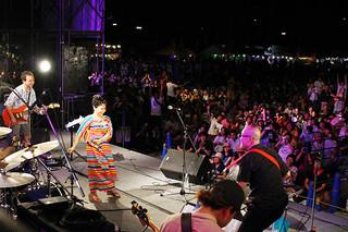 夏川りみさんのステージに熱狂する人たち=15日夜、新栄公園