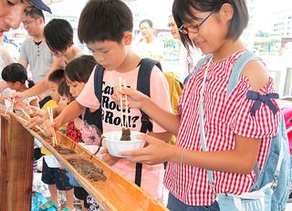 八重山漁業協同組合の用意したモズクを必死にすくい取る参加者=17日午後、石垣港旧離島桟橋周辺