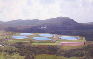 5基計画されている白水の原水調整池の完成イメージ