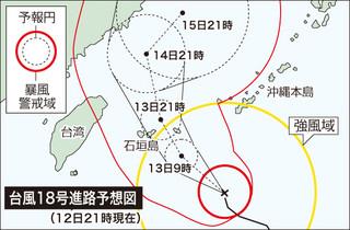 台風18号進路図