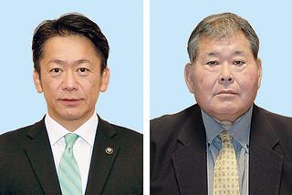 任期満了に伴う石垣市長選に出馬表明した現職3期目の中山義隆氏(左)と市議会議員で新人の宮良操氏
