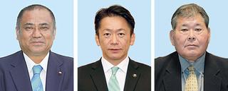 右から宮良操氏(61)、中山義隆氏(50)、砂川利勝氏(54)