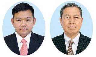 石垣市議会議員補欠選挙に出馬表明した黒島孫昇氏(右)と花谷史郎氏