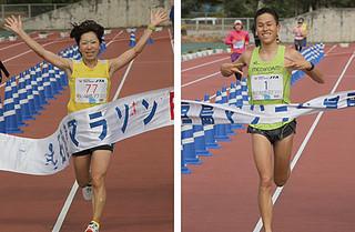 フル男子優勝の川内鴻輝さん(右)と同女子優勝の畠山望美さん