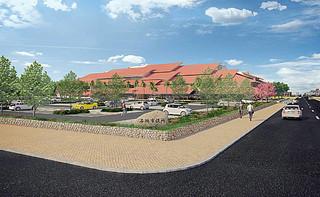 基本設計段階での新庁舎の外観イメージ