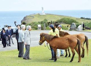 初めて与那国島を訪問し、東牧場で与那国馬を見学される天皇、皇后両陛下=28日午後、沖縄県与那国町(代表撮影)