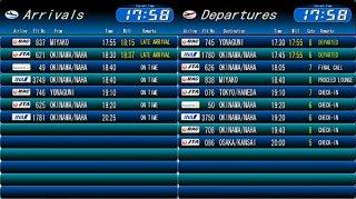 石垣空港ターミナル㈱が18日から試験的に開始したフライトインフォメーションの配信画像。発着や遅延時刻などがリアルタイムで確認できる=19日夕、配信映像より