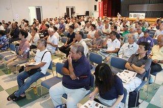 郡内のサトウキビ農家など、200人余りが参加した2018年度「さとうきびの日」「土壌保全の日」関連の講演会=6月30日午後、大浜公民館
