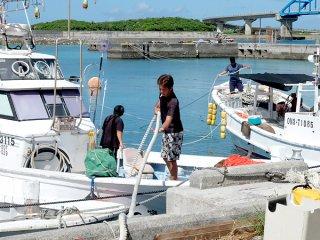 台風8号の接近に伴い、漁船をロープで固定するなど厳重に警戒する漁業者ら=9日午前、登野城漁港