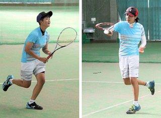 ソフトテニスでインターハイに出場する吉川小百合と(八重山高校1年)前原ひなの(同)=16日午後、石垣市中央運動公園屋内練習場