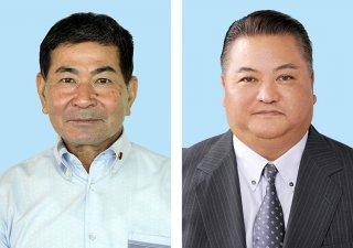 出馬に意欲をみせている市議会議長の知念辰憲氏(左)と、自民公認申請を受けた大浜一郎氏