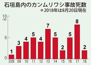 石垣島内のカンムリワシ事故死数