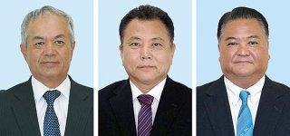 県議補選に立候補する(右から)大浜一郎氏、金城利憲氏、﨑枝純夫氏