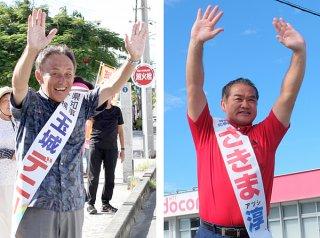街頭でそれぞれ支持を訴える佐喜真淳氏(写真右・22日午前、真栄里の選対事務所前)と玉城デニー氏(写真左・18日午後、市役所第2駐車場前)