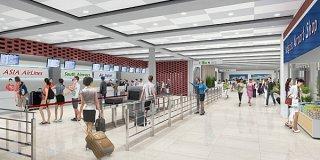新しい国際線旅客施設1階の内観イメージ(石垣空港ターミナル社提供)