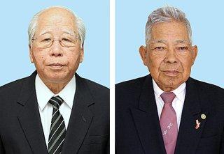 2018年秋の叙勲を受章した新垣能一氏(右)と西島本進氏