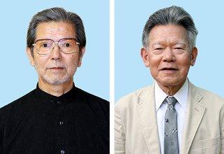 第34回八重山毎日文化賞・正賞の八重洋一郎氏(右)と當山善堂氏