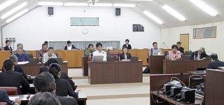 県民投票管理費を含む一般会計補正予算案に異議なしと全会一致で可決する議員(正面)=14日午前、議場