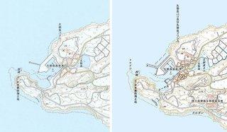 「トゥイシ」が記載された地形図(右)と更新前の地形図(国土地理院提供)