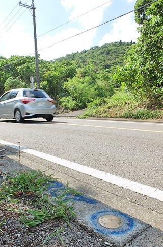 大本小近くの県道87号沿いに設置されている用地測量のための基準点=24日午後