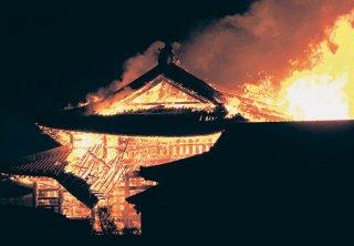 炎上する首里城=10月31日、那覇市(EPA時事)