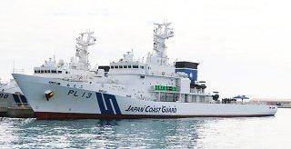 海上保安体制の強化を目的に石垣海上保安部に配属された巡視船「もとぶ」=17日午前、浜崎マリーナ内の浜崎専用岸壁
