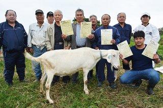 石垣市山羊生産組合のヤギ5頭が優良ヤギとして認定された=15日午後、平得