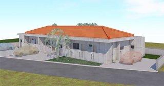 農林水産新規就業者用定住型住宅のパース図。1棟3戸の2LDK(同町提供)
