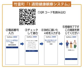 竹富町が11日から運用を開始した1週間健康観察システムのQRコード。読み込んで登録する(竹富町ホームページより)