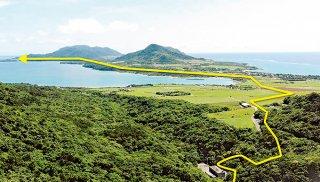 国営かんがい排水事業石垣島地区は平久保までの送水路延伸に向けて、今年度は大浦川地区送水路の設計等に取り組む=(同事業所提供画像を一部加工)