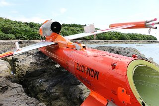 8日に漂着が確認された小型無人機。所有者が判明した=9日午後、竹富島北側の海岸