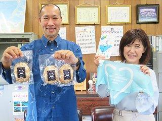 商品をPRする髙木リーダー(右)と島田部長=19日午後、石垣市商工会