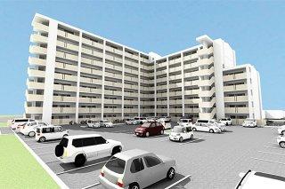建て替えられる新川市営住宅の完成パース図