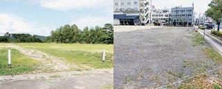 西表大原庁舎建設予定地(左)と石垣庁舎建設地(右)。本庁舎の位置付けは不明瞭となっている。