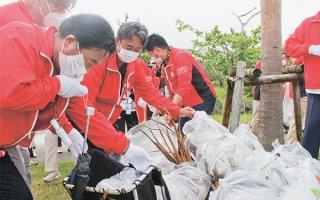 日健総本社のグループ企業の販売員ら150人が清掃活動を行った=16日午前、南ぬ浜町緑地公園