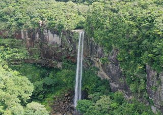 IUCNは西表島のオーバーツーリズムを懸念。観光入域客をコントロールする具体的な総量規制対策が求められている=10日、西表島ピナイサーラの滝