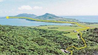 国営かんがい排水事業石垣島地区は平久保までの送水路延伸に向けて、今年度は大浦川地区送水路工事に着手する=(同事業所提供画像を一部加工)