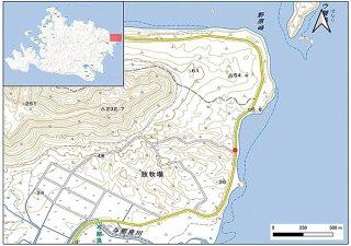 ことし3件目のイリオモテヤマネコ交通事故死が発生した現場(赤丸部分)