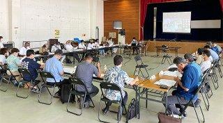 世界遺産委員会の指摘事項への対応などが話し合われた奄美大島、徳之島、沖縄島北部及び西表島世界自然遺産地域連絡会議の2021年度第1回西表島部会=17日午後、西表大原の離島振興総合センター