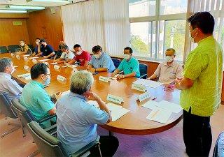 ワクチンパスポート発行へ飲食業界と市が意見交換した=8月31日午後、市役所庁議室