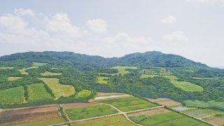 ゴルフ場付きリゾート施設開発が計画されている前勢岳北方一帯=昨年10月14日、小型無人機で撮影